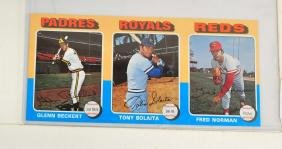 Two 1975 Topps Vault Uncut Blank Back Proofs