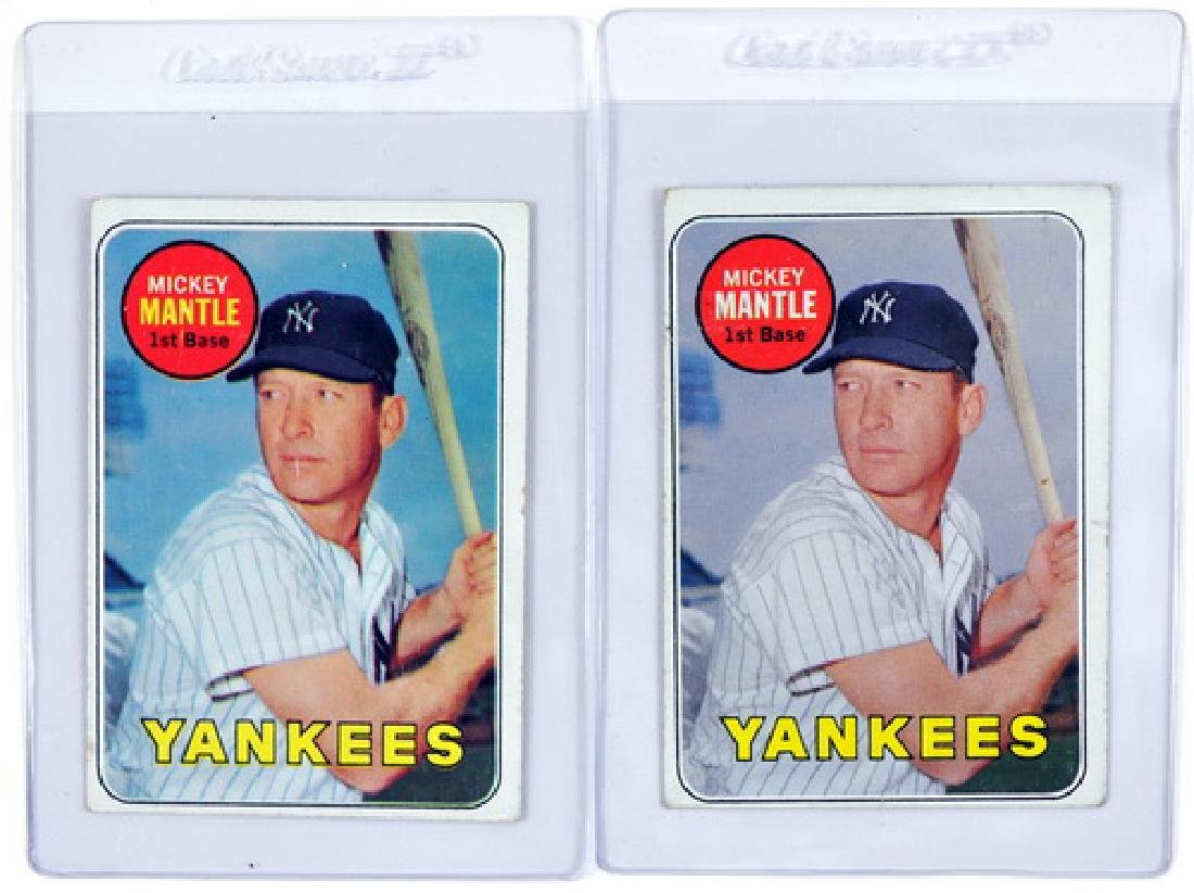 Two 1969 Topps Mickey Mantle Cards