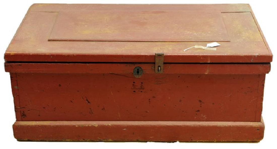Antique Tool Box in Red Paint filled with tools