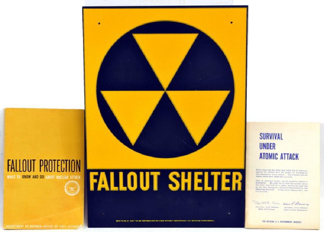 Original 1960's Fall Out Shelter Sign/manuals