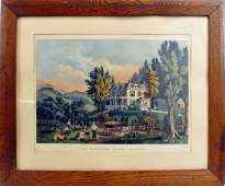 Currier and Ives hand color Lithograph