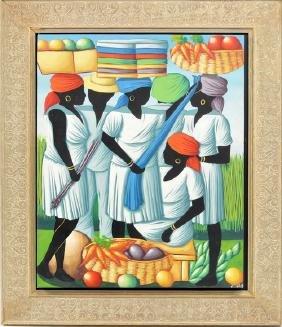 Acrylic on Canvas, Haitian artist signed: Bazelais