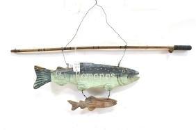 Vintage Maine Folk Art Fishing Camp Sign