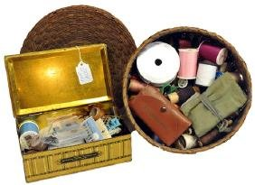 Estate Sewing Items In Basket