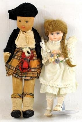 Four Vintage Dolls/Bisque and Cloth