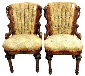 Pair of Walnut Upholstered Side Chairs