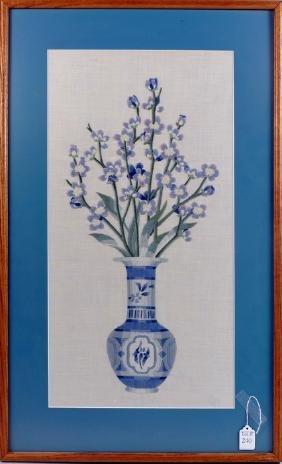Vintage Framed Needlework Vase of Flowers