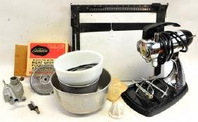 1957 Sunbeam Mixmaster with bowls and attachments