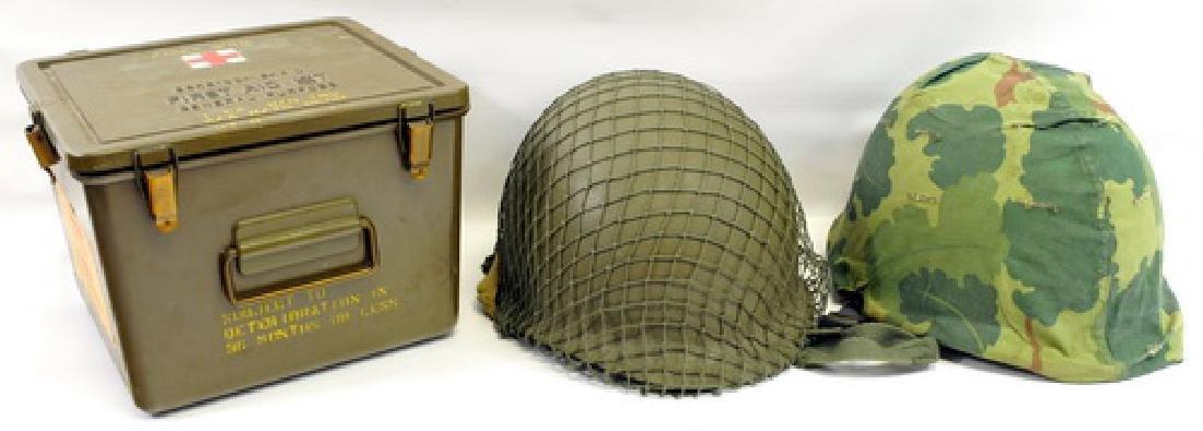 4 Us Military Helmets & 1 First Aid Kit