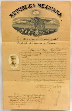 1924 Mexican Army Promotion Document