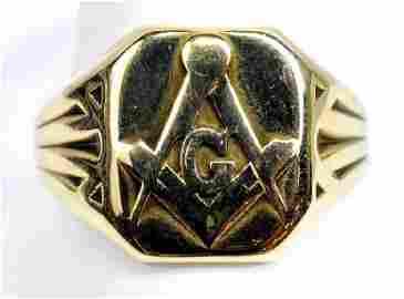 Men's 14k Yellow Gold Masonic Ring Size 9 1/2