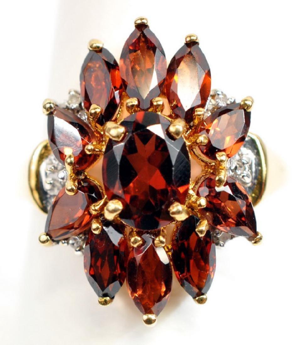 Ladies 10k Yellow Gold Garnet & Diamond Ring