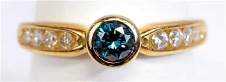 Ladies 14k Yellow Gold 1/3 Ct Blue Diamond Ring