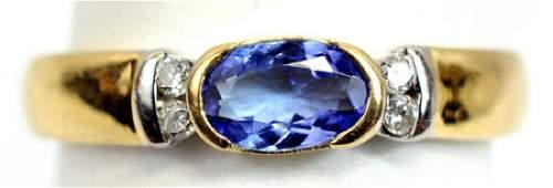 Ladies 14k Yellow Gold Tanzanite Diamond Ring