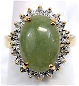 Ladies 14k Yellow Gold Jade  Diamond Ring