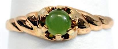 Antique Ladies 14k Yellow Gold Claw Set Jade Ring