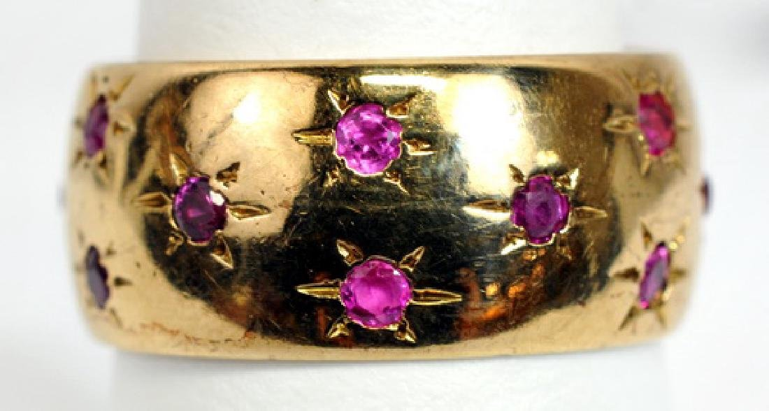 Ladies 14k Yellow Gold Ruby 9.2mm Wide Band