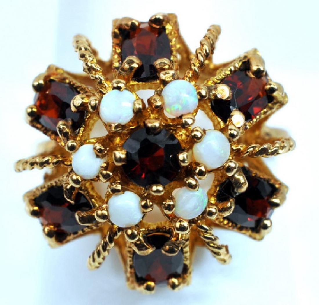 Ladies 10k Yellow Gold Garnet & Opal Ring 6 3/4