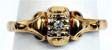 Antique Ladies 14k Yellow Gold Diamond Ring Size 4