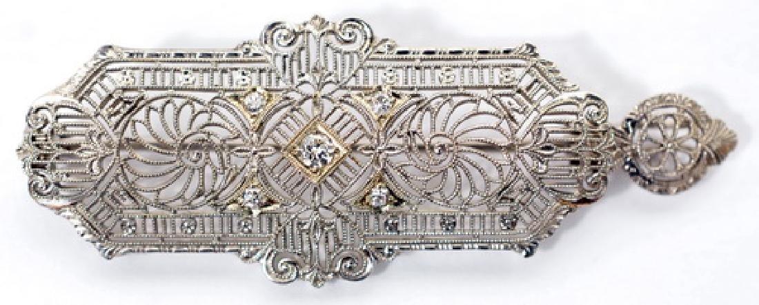 Vintage 14k White Gold Diamond Brooch Pin