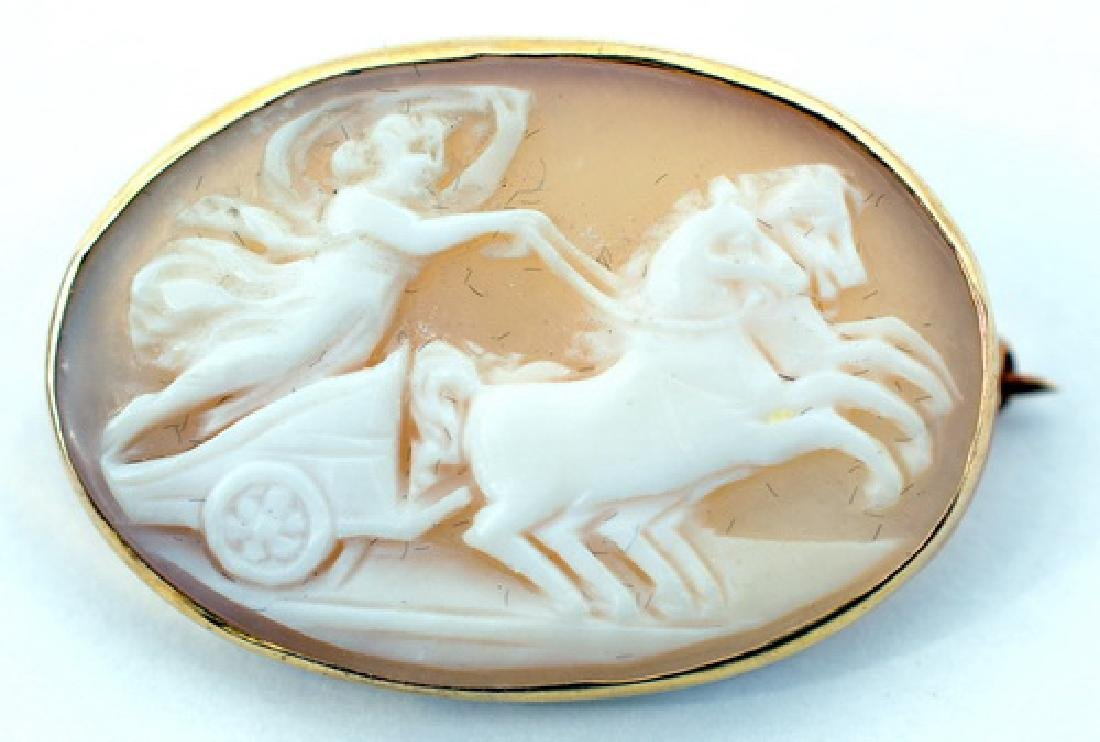 Ladies 10k Yellow Gold Hand Carved Cameo Brooch