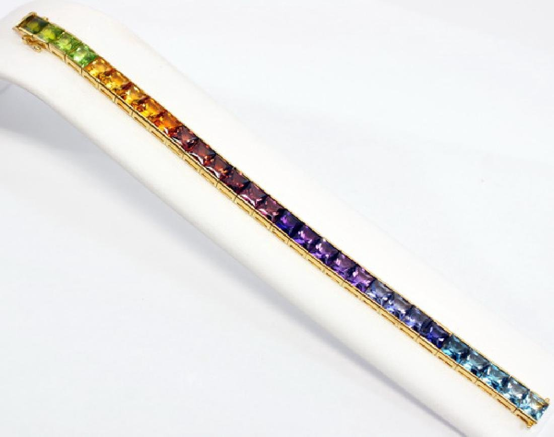 Ladies 18k Gold Multi Colored Gemstone Bracelet