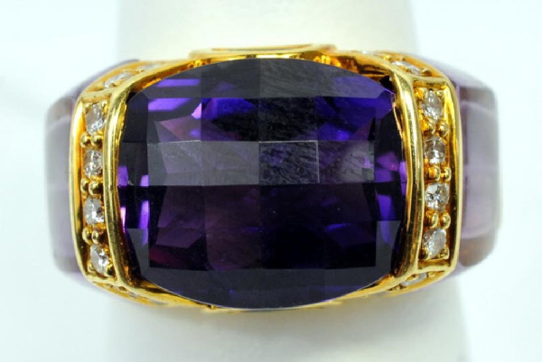 Ladies Designer 18kt. Gold Amethyst/emerald/ring