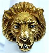 Men's 14k Yellow Gold Diamond Lion Ring Size 7