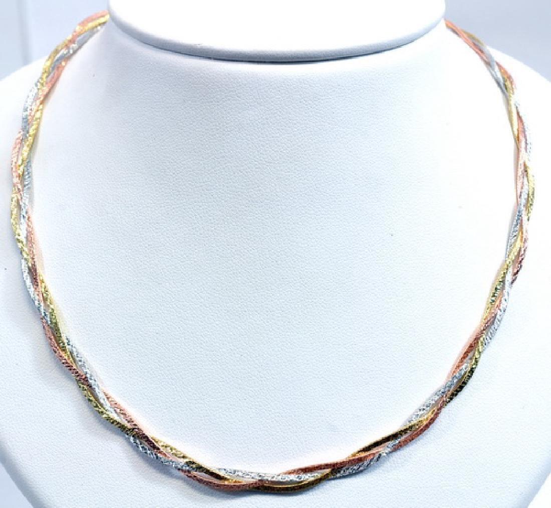 """Ladies 10k Tri-color Gold 16"""" Necklace"""