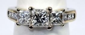 Ladies 14k White Gold Princess Cut Diamond Ring