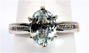Ladies 14k White Gold Aquamarine  Diamond Ring