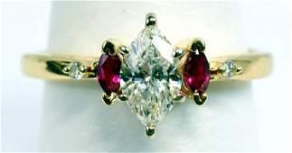 Ladies 14k Yellow Gold Diamond Ruby Ring & Wrap