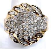Ladies 14k Gold Diamond 2 Cttw Cluster Ring Size 6