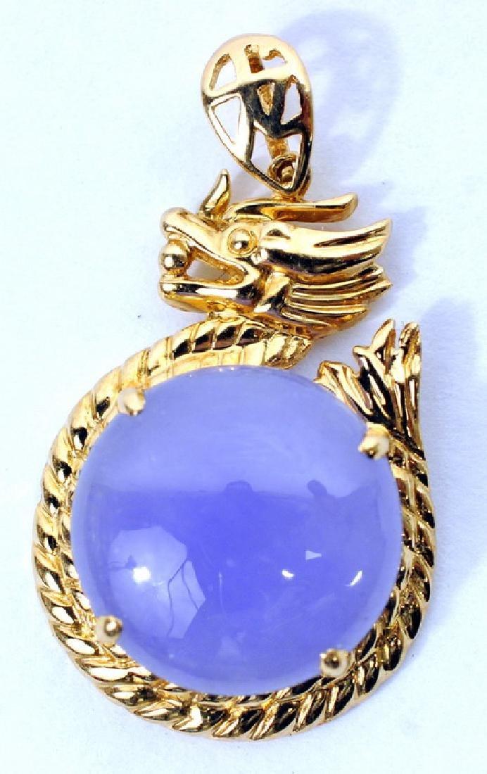 14k Yellow Gold Purple Jade Dragon Pendant