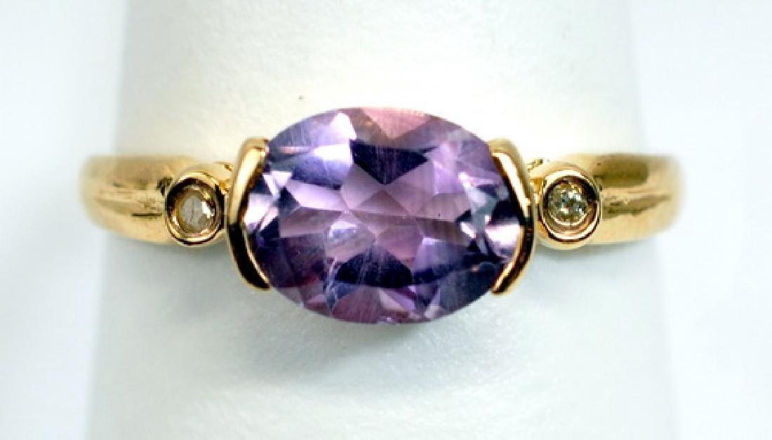 Ladies 10k Yellow Gold Amethyst Diamond Ring