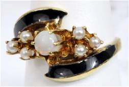 Antique Ladies 14k Yellow Gold Opal Pearl Ring
