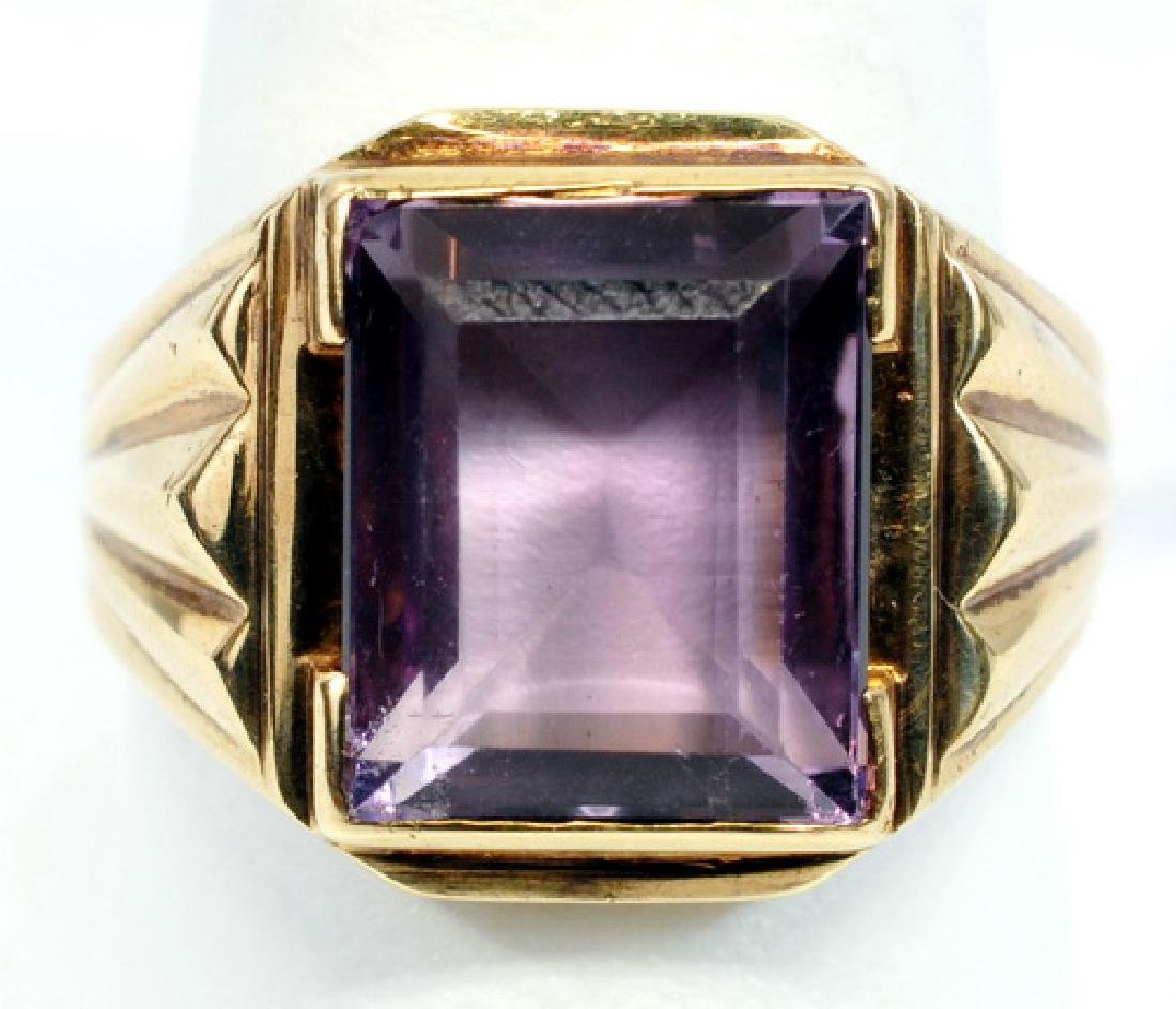 Men's 10k Yellow Gold Amethyst Ring Size 9