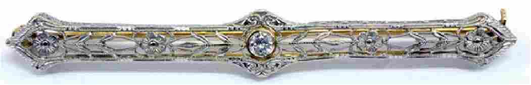 Antique Diamond 14k White Gold Filigree Bar Brooch