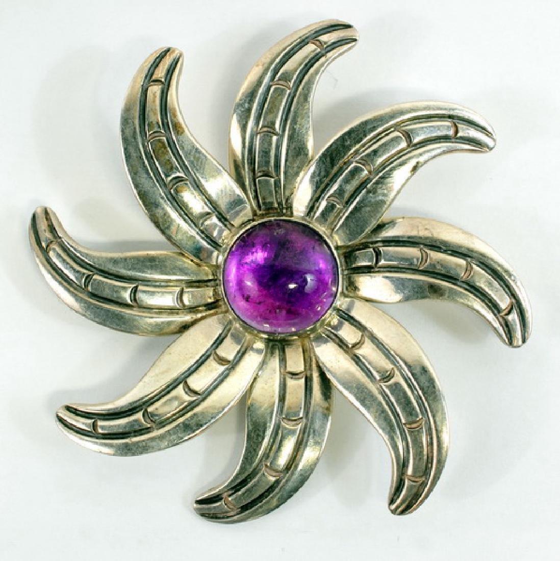Ladies Taxco Sterling Amethyst Flower Brooch
