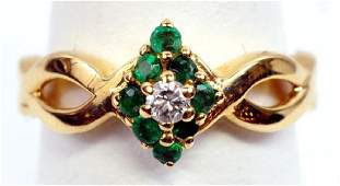 Ladies 14k Yellow Gold Emerald  Diamond Ring