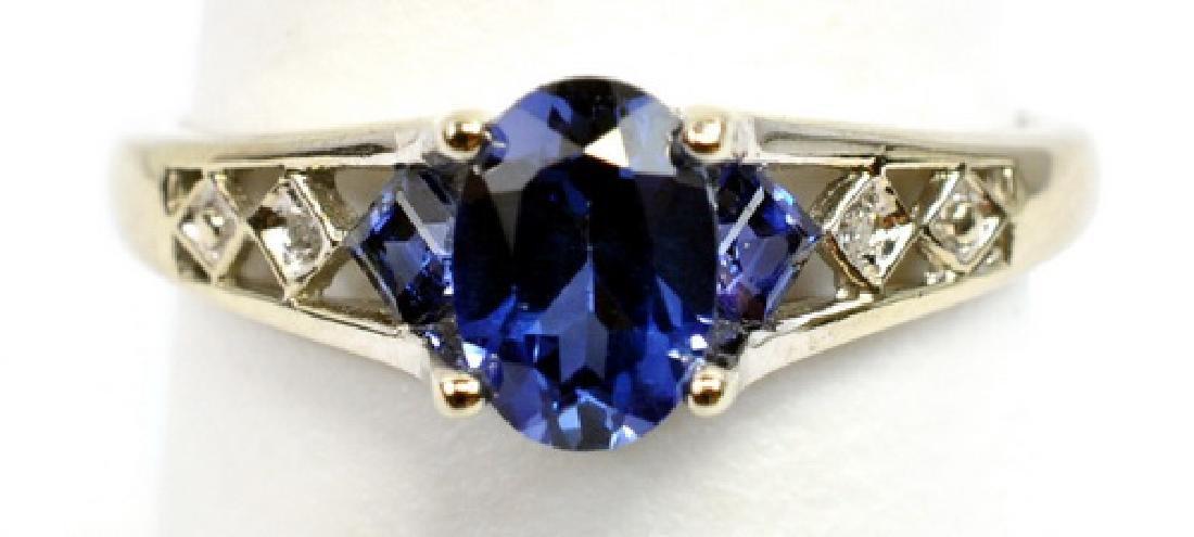 Ladies 10k White Gold Diamond & Gemstone Ring