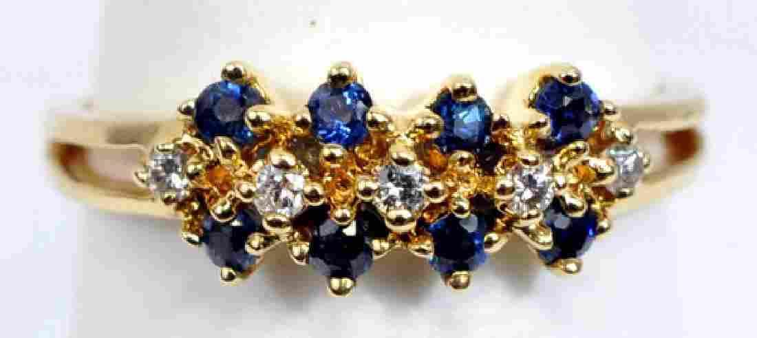 Ladies 14k Yellow Gold Sapphire & Diamond Ring