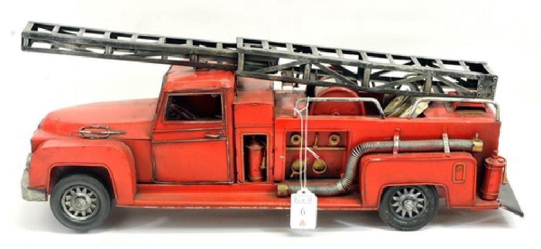 Vintage Pressed Metal Ladder Truck