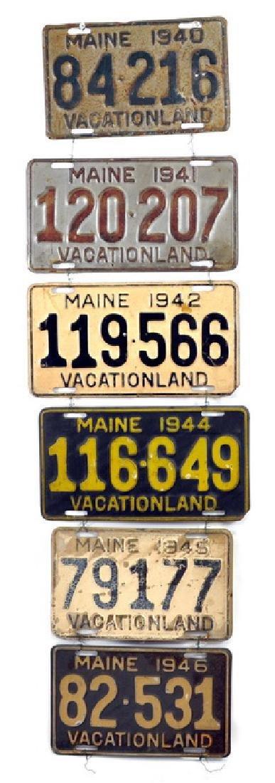 6 Pre 1948 Maine License Plates
