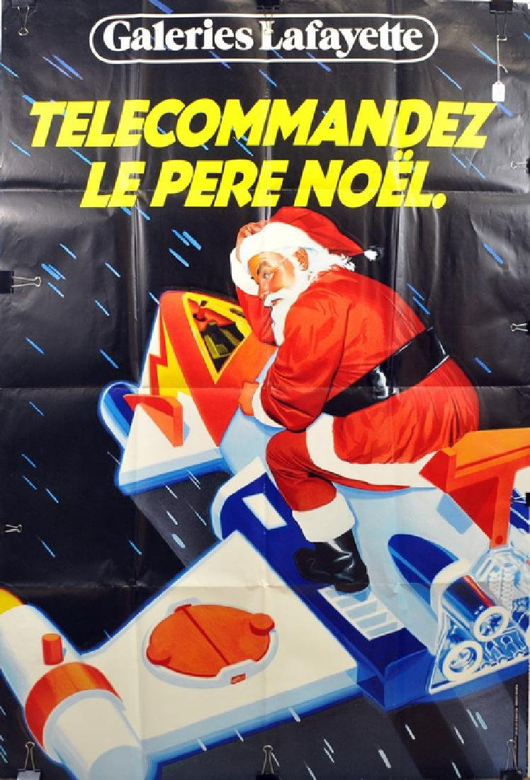 Large Vintage Christmas Poster In French