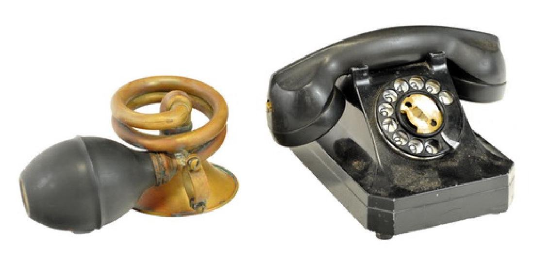 Pair Of Vintage Items Car Horn And Telephone