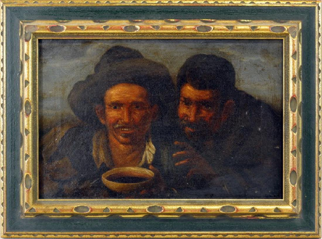 Oil On Canvas Two Men Signed Lower Right