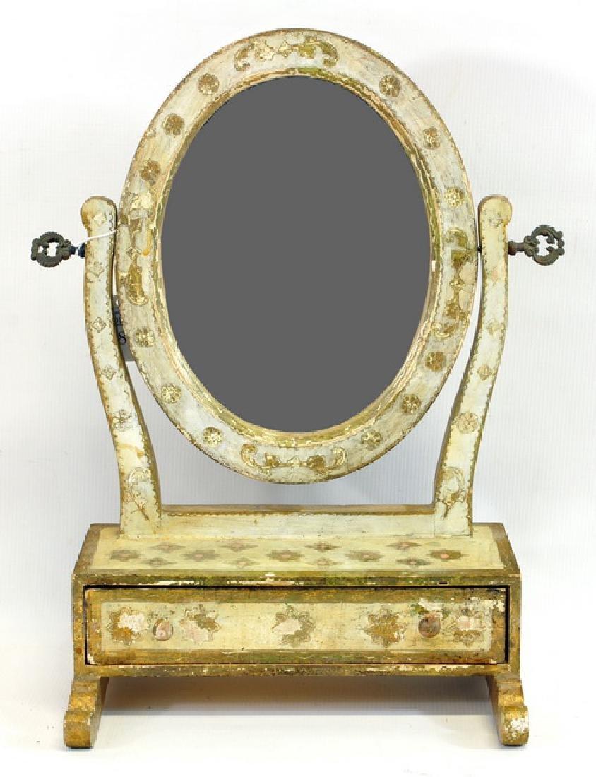 Early Gold Gilt Shaving Mirror