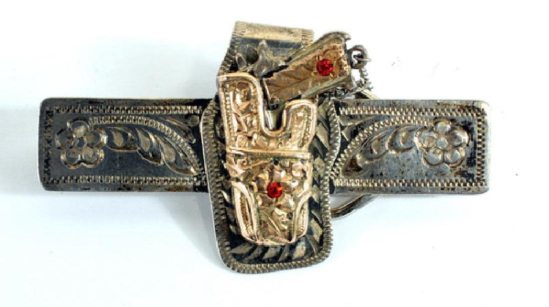 Antique Jeweler Made Holster Sterling Tie Clasp