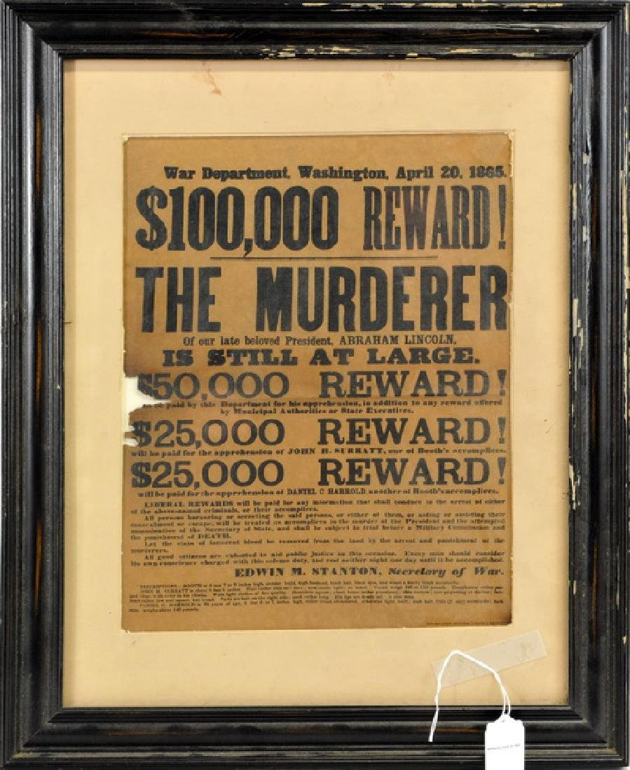 Vintage Abraham Lincoln Assassin Wanted Poster